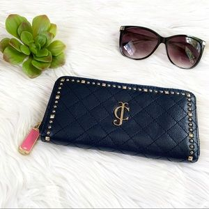 Juicy Couture Navy Quilted Studded Wallet